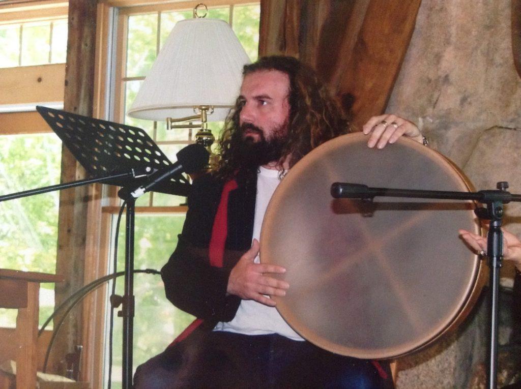 Martin Shaw holding drum at GMC 2009