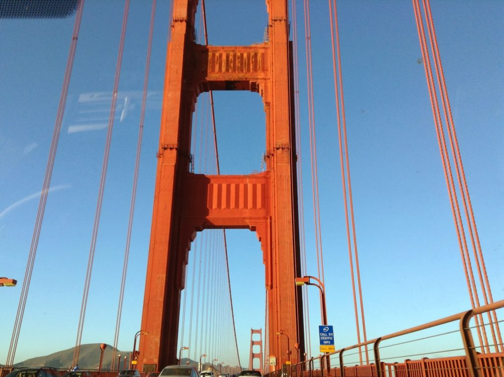 Photo of Golden Gate Bridge from car.