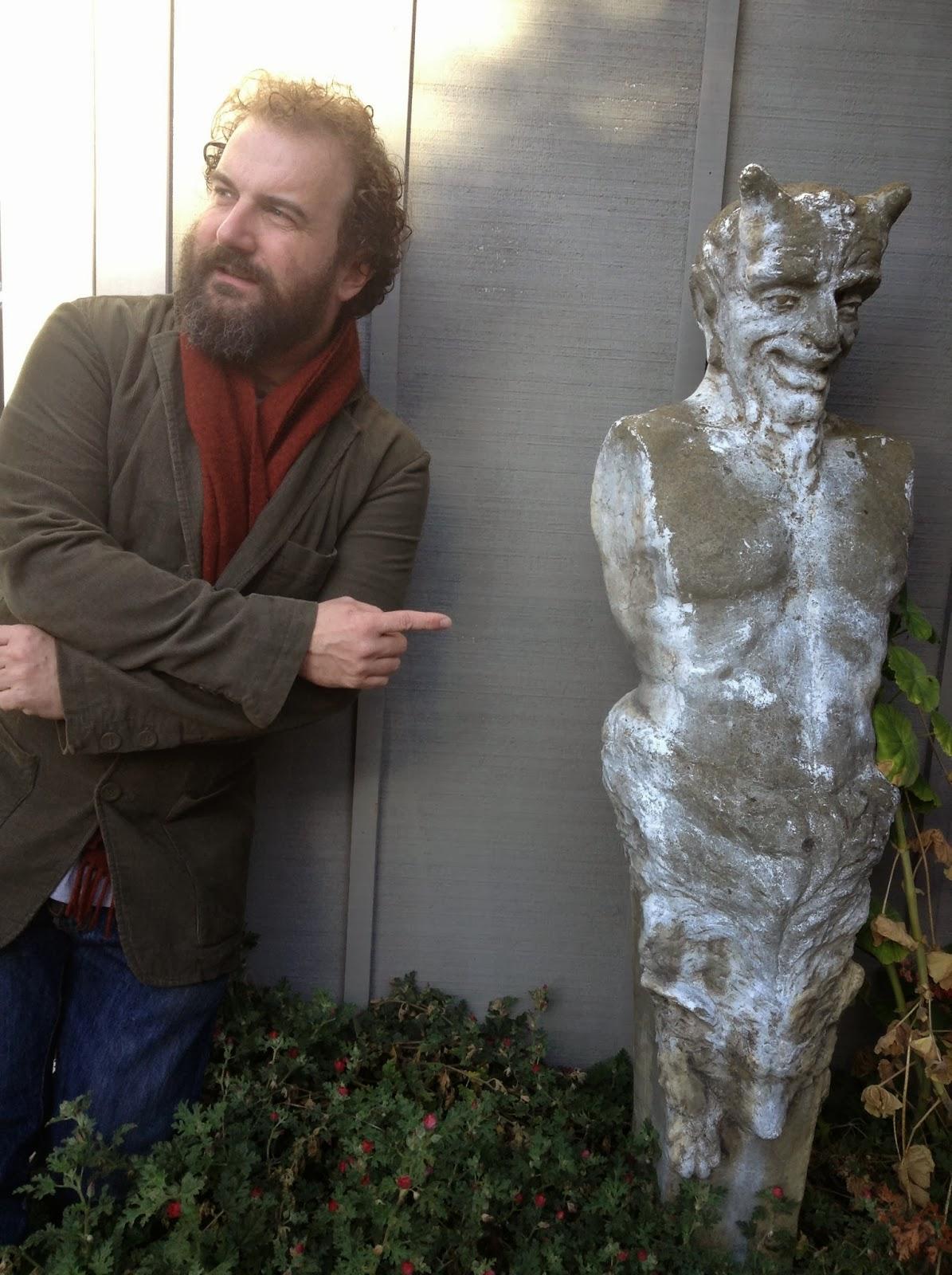Martin Shaw and Pan man statue.