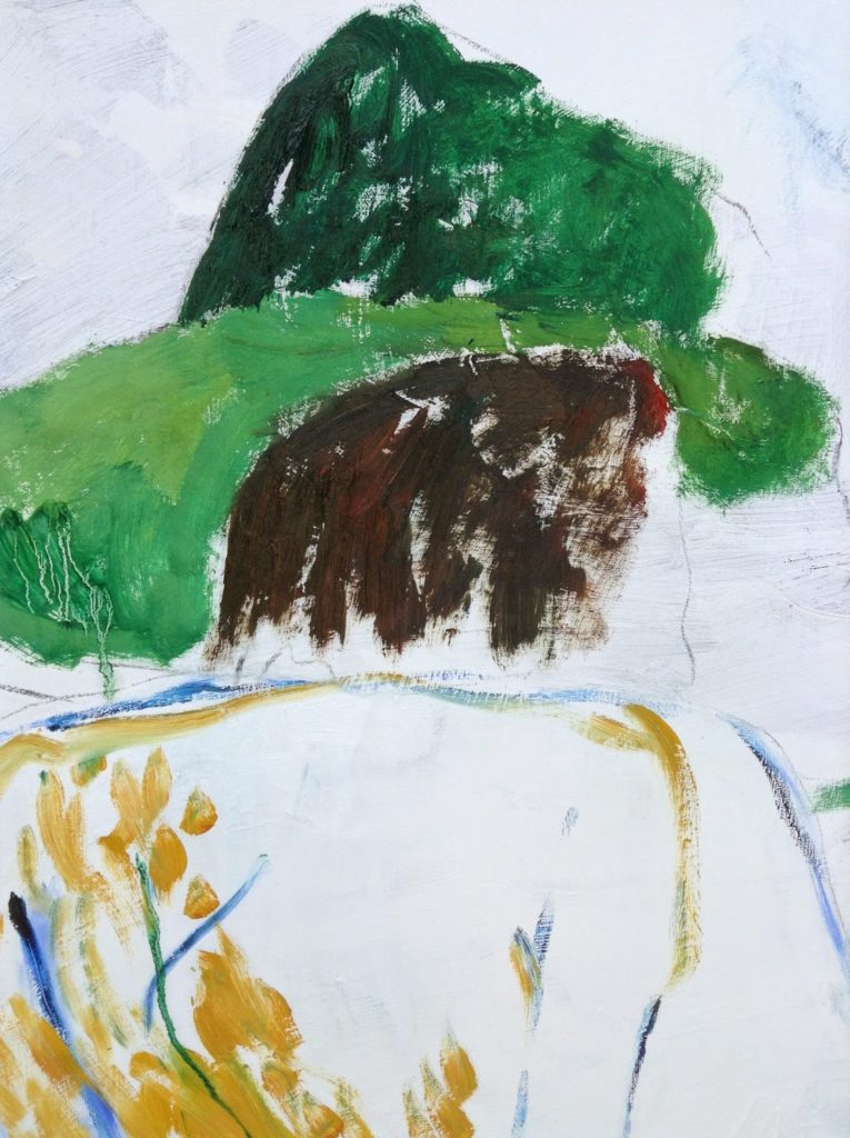 harvest painting back of head and hat