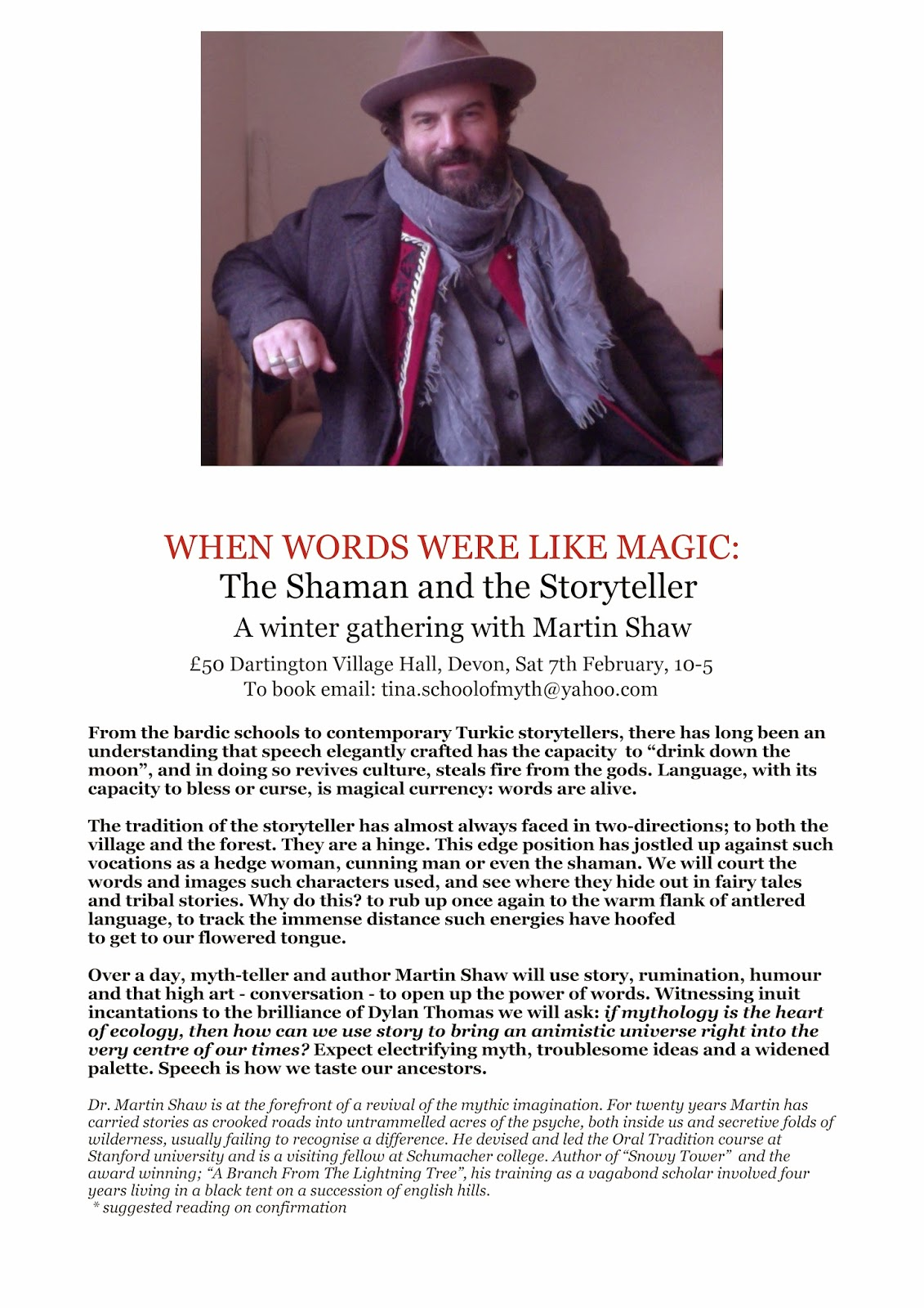 When Words Were Like Magic Flyer Martin Shaw